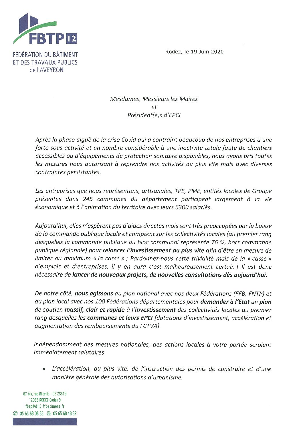 Courrier de la FBTP à l'attention des maires et présidents